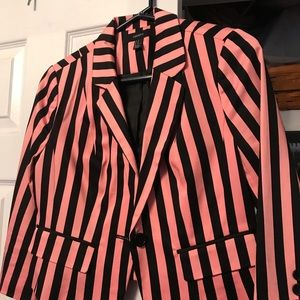 Forever 21 Jackets & Coats - Hot Pink and Black Stripped Blazer